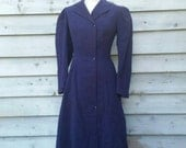 Navy Wool Vintage Victorian Edwardian Riding Coat Tails Puff Sleeve Small