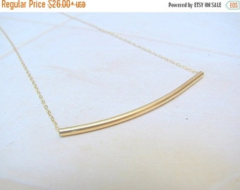 VALENTINES DAY - Gold curved tube necklace - gold necklace, tube necklace, delicate gold necklace