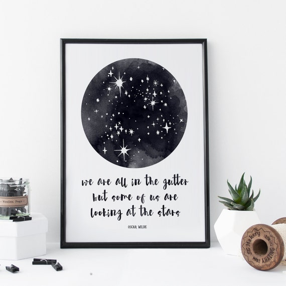 Star Print - Oscar Wilde Quote ' We are all in the gutter...' Typography Art - Gift for Book Lover - Starry Sky
