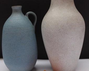 2x Marschner Keramik vases  Fat Lava 60's/ 70's Mid Century West German Pottery Blue Creme