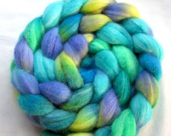 Hand Painted Polwarth/Tussah Silk Roving (Combed Top)