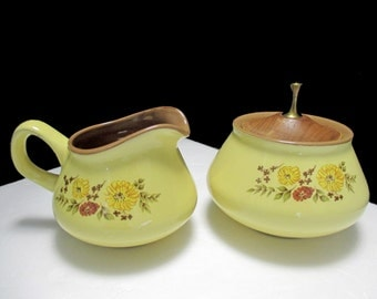 Taylor Smith Taylor Design 70 Shape - Indian Summer Pattern - Creamer and Sugar with Wood Lid and Brass Finial Set