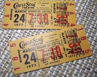 Marlene Dietrich Circle Star Theatre Tickets, March 24, 1973