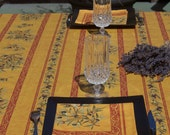 Rectangular tablecloth.French Provence Olives , oilcloth , matching napkins available. olives in yellow
