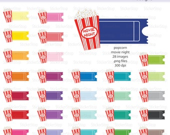 Popcorn Movie Night Ticket Digital Clipart - Instant download PNG files