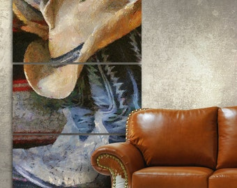 Cowboy Canvas Gallery Wrapped Wall Art Triptych
