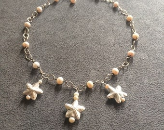 Silver Stars and Pearls Rosary Link Necklace