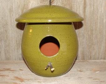 Handmade Olive Green Pottery Birdhouse