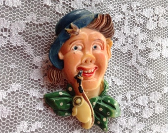 Irish Man Celluloid Brooch Vintage with Pipe and Hat TLC Green Jewelry