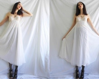 60's angelic grunge white sheer lingerie maxi dress with lace bodice.