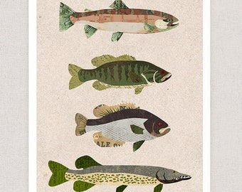 Fish Art Print - Collage Illustration - Rustic Print