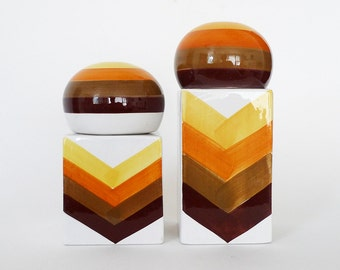 Italian Ceramic Canisters Chevron / Retro 70s Kitchen