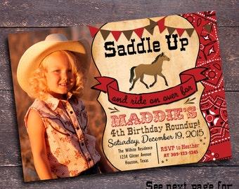 Red Cowgirl Invitation, Red Horse Invitation, Cowgirl Invitation, Cowgirl Party, Girl's Horse Party, Girl's Western Party, Western Invite
