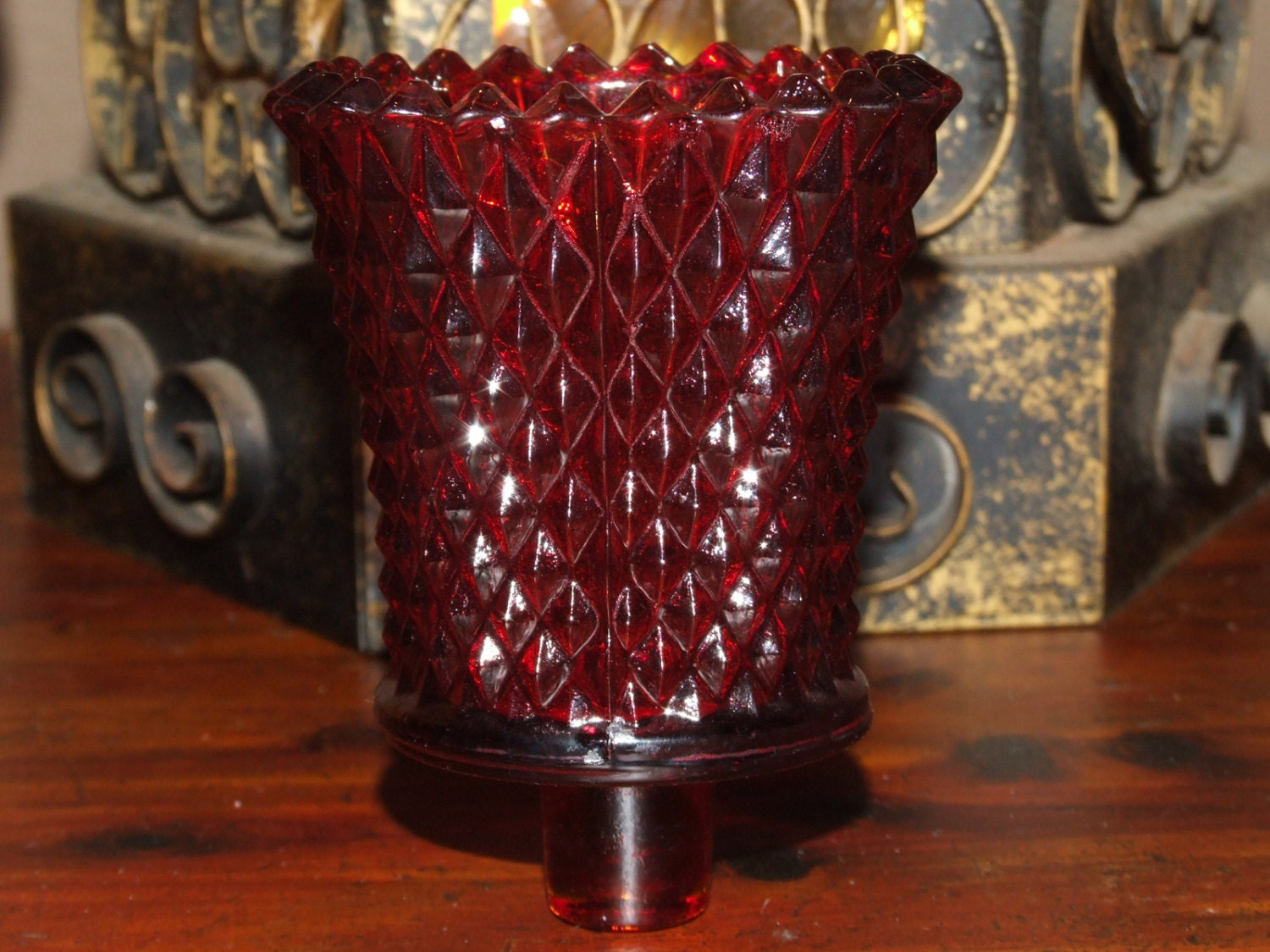 Vintage 1970u0026#39;s Ruby Red Diamond Cut Hobnail Glass Votive