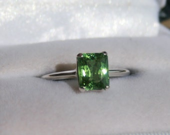 Green Cuprian Elbaite Tourmaline Ring Copper Bearing Emerald Cut Sterling Silver Solitaire Engagement Ring Wedding Ring Promise Ring