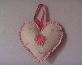 hanging felt heart, floral felt heart decoration, eco-friendly pink fabric heart
