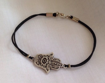 Antique Silver Hamsa Hand Bracelet, Silver Bracelet, Protection Pendant, Good Luck  Jewelry, Gift for Her, Christmas Gift