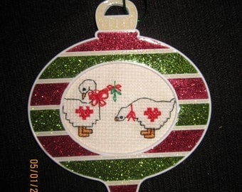 Red/Green Stripe Christmas Tree Ornament with Geese