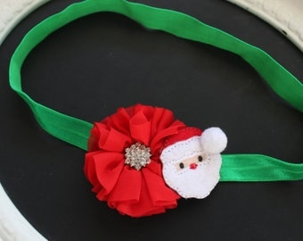 CHRISTMAS Red Chiffon with Diamond Jewel Gem Accent Center and Felted Santa Claus with Pom Pom on Green Elastic Headband
