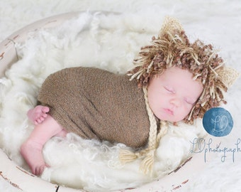Crochet newborn/baby/toddler lion hat OR photo prop set with hat and diaper cover