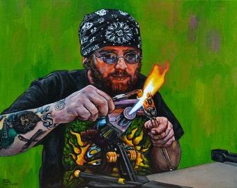 "Behind the Fire Giclee Print, ""Josh McDaniel"""