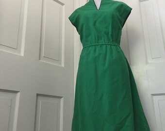 70's green linen day dress with navy piping trim