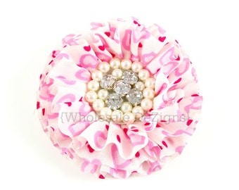 """Light Pink & Hot Pink Heart Chiffon Flowers with Pearl and Rhinestone Center - 3"""""""