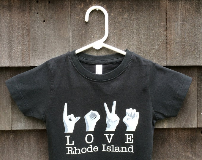 ASL LOVE Rhode Island Destination Tee Shirt - American Sign Language - Cotton T shirt - LAT Apparel - Ladies Tees s, m, l, xl, xxl