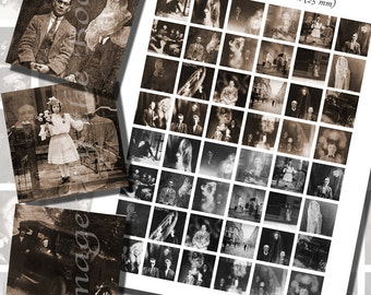 Victorian Spirit Photograph Printables, ONE INCH SQUARES (25 mm), with 1/2 inch (13mm) and 3/4 inch (20mm) squares also included