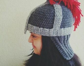 Crochet Knight Hat-Knight Helmet Beanie - Gladiator Trojan Spartan Mohawk Hat - Handmade Knit Hat