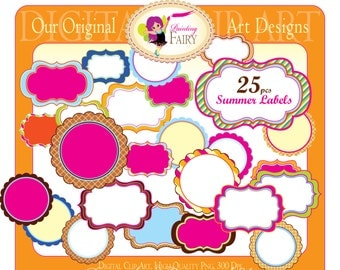 Clipart Summer Fall elements Fancy scalloped shapes Frames Labels Ice Cream Frame Scrapbooking Label clipart pink green colors pf00050-5