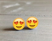 Emoji Earrings Heart Smiley Face Hypoallergenic  Stud Earrings Emoji Stud Surgical Steel Vegan, Earrings for Sensitive Ears, Made in the USA