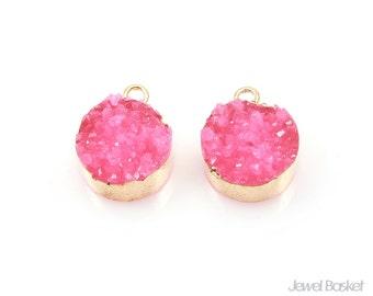 Round Pink Druzy Charm in Gold - 2pcs of Pink Drusy / 12mm / SPKG113-P