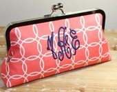 Monogrammed Coral & Navy Clutch -  Bridesmaid Clutch - Wedding Clutch - Choice of Colors