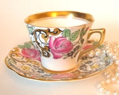 Teacup Set Gold and Black Floral Tea Cup and Saucer with Pink Roses  Bone China Rosina Queens England | Tea Party Gift for Her