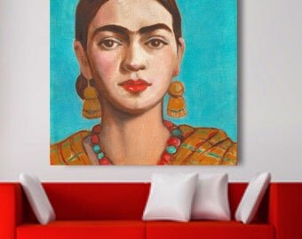 30% Off Today Frida Kahlo Print Canvas Wrap Frida Painting Giclee Large Poster Mexican Folk Art Decor Large Wall Art