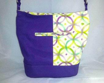 Purple Canvas Purse- Bucket Bag - Purple Purse