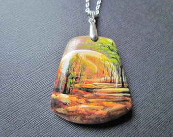 Picasso Jasper Necklace - Landscape Pendant - Hand painted Necklace - Painted Gemstone Pendant