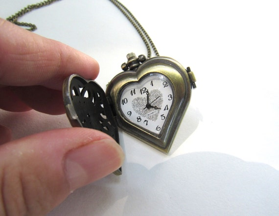 Pocket Watch Steampunk Jewelry With 30 Inch Brass Chain