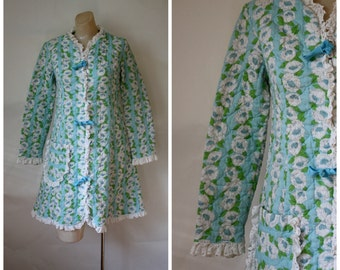 Evelyn Pearson Jr Robe / Vintage Bathrobe / Vintage Lingerie / 1960's Quilted Robe / Summer Cotton Robe S/M