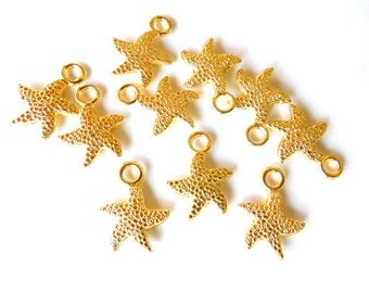 10 Gold Plated Starfish Charms - 21-45-9