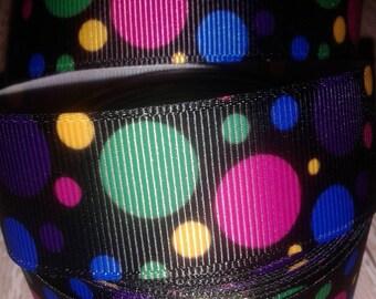 Black Polka Dot Grosgrain Ribbon