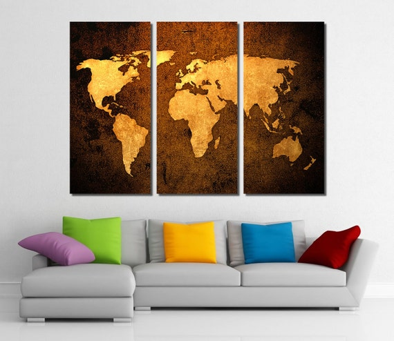 Framed Huge 3 Panel World Map Giclee Canvas Print - Ready to Hang