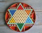 Vintage Ohio Art Tin Chinese Checker Board ~ Vintage Game Board ~ Game Room Wall Decor