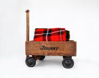 Vintage Handmade Child's Wooden Wagon ~ Folk Art Child's Wagon ~ Display Prop ~ Photo Prop ~ Johnny