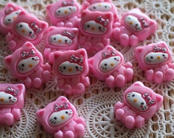 6 Pieces. Resin Flat back Cabochons.  18 mm.  Pink Hello Kitty with Rhinestones. Craft Supplies. DIY Supplies