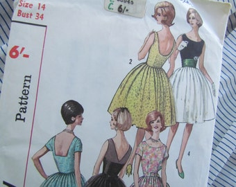 Vintage Size 34 Inch, Feature Back Dresses - Unused Simplicity Sewing Pattern No 4984