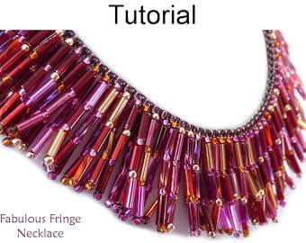 Beading Tutorial Necklace Pattern - Fringe Necklace - Bugles - Simple Bead Patterns - Fabulous Fringe Necklace #19407