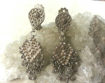 Vintage Indian Bali style silver dangle clip on earrings
