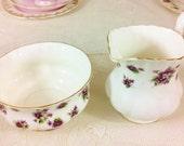 """Royal Albert """"Sweet Violets"""" Creamer and Sugar Bowl Set"""